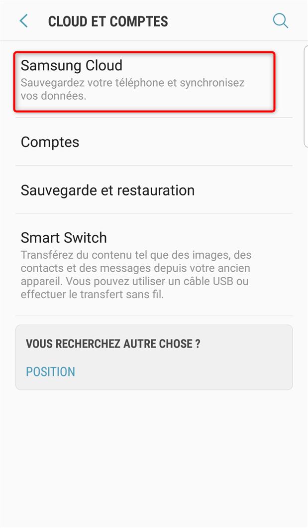 Accès aux paramètres de Samsung Cloud