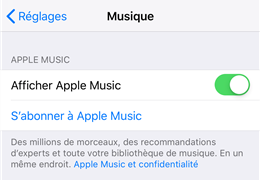 Activer Apple Music sur iPhone