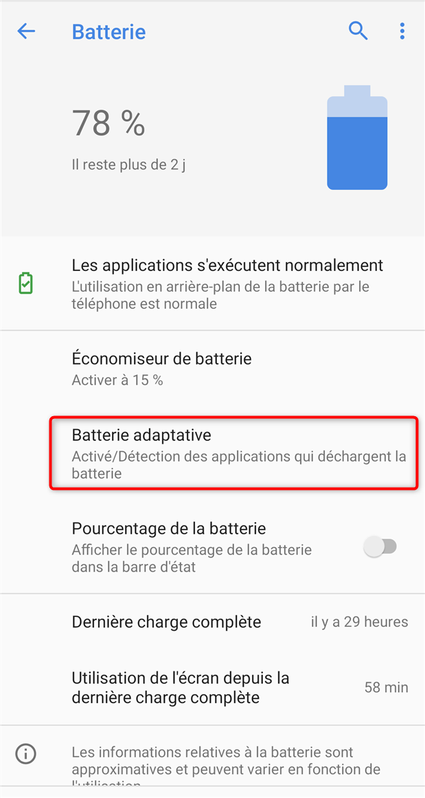 Activation de la batterie adaptative