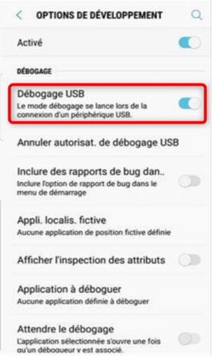 Activation du débogage USB sur Samsung