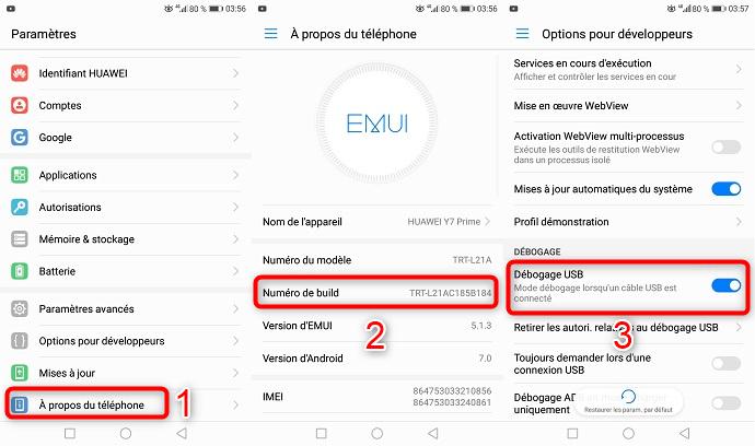 Activer débogage USB sur Huawei