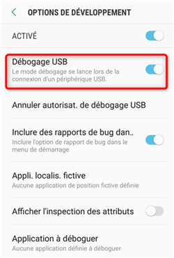 Activation du débogage USB