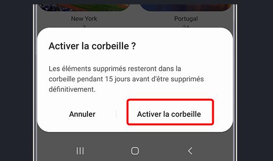 Activer photos Corbeille Samsung