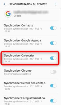 Activation de la synchronisation du calendrier