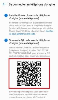 Affichage du QR code sur le téléphone Huawei