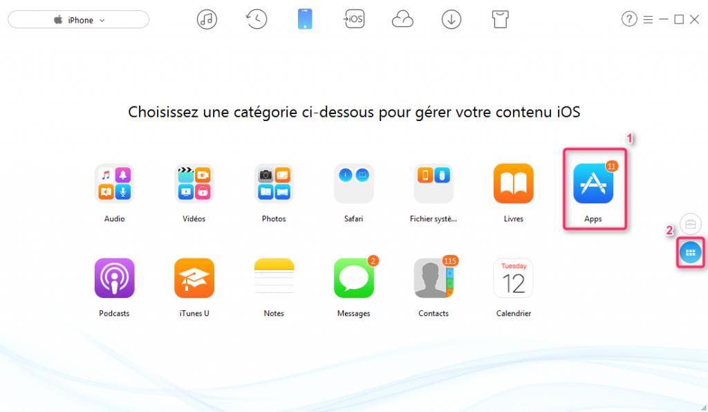 Transférer les apps entre deux iPhone