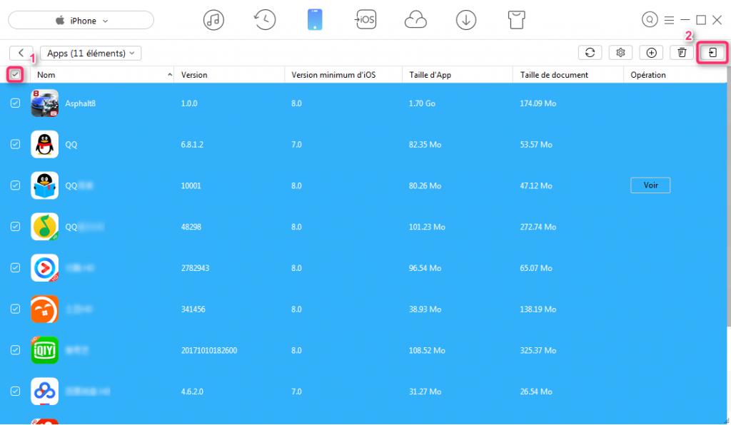 Transférer les applications entre les appareils iOS