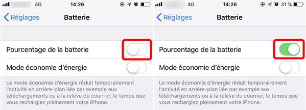 Afficher le pourcentage de la batterie iPhone 8