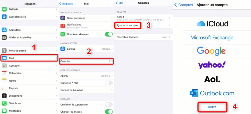 Ajouter un compte mail manuellement sur iPhone