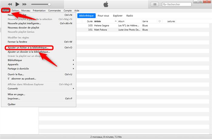 Ajouter les fichiers à la bibliothèque iTunes