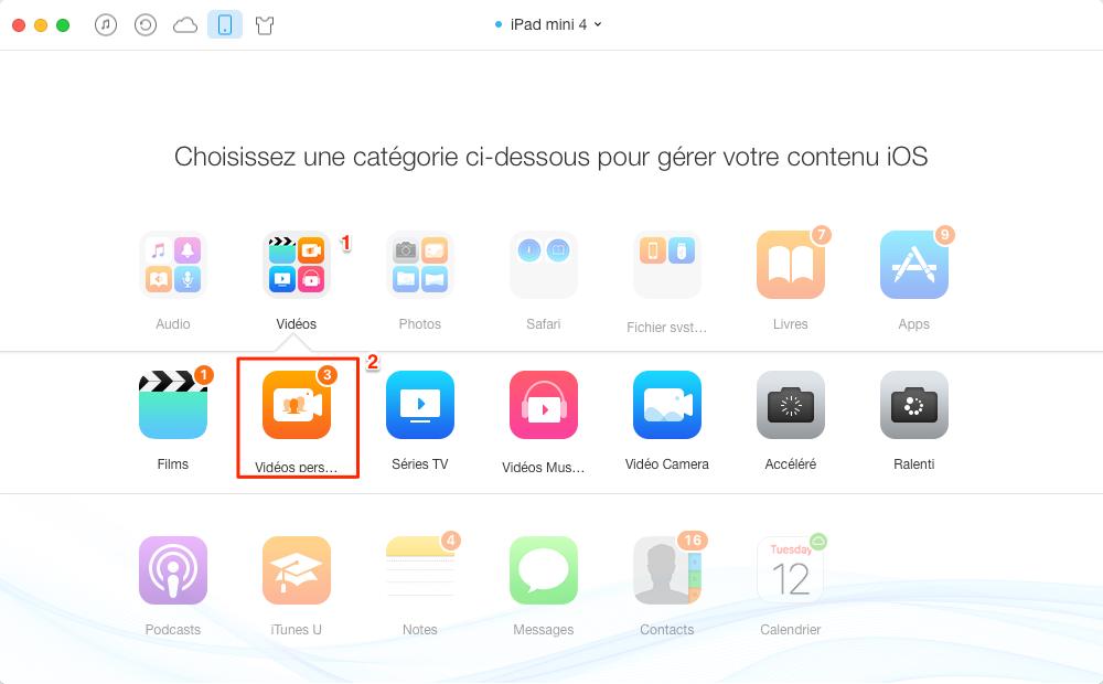Ajouter des films sur iPad avec AnyTrans - étape 1