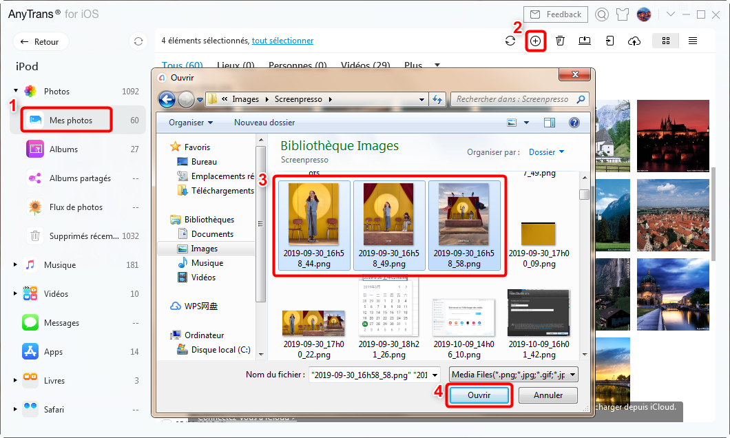 Ajouter les photos PC vers iPhone
