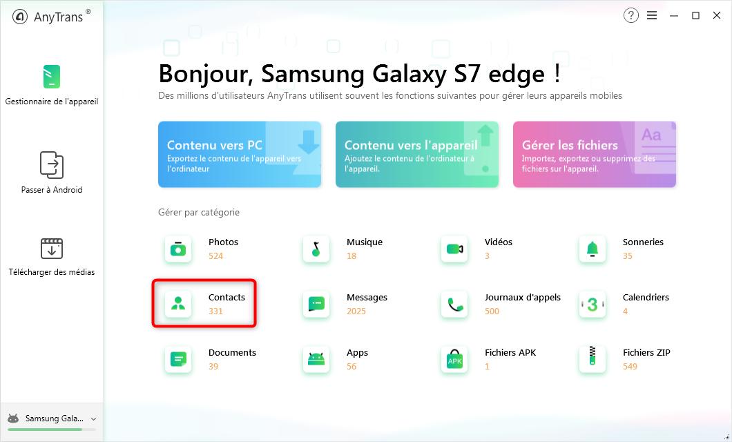 Accéder aux contacts depuis le menu d'AnyTrans pour Android - étape 1