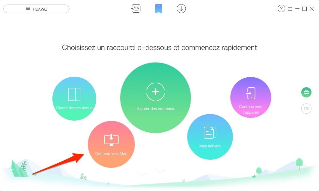 Comment transférer des données d'Android vers Mac en 1 clic - Étape 1