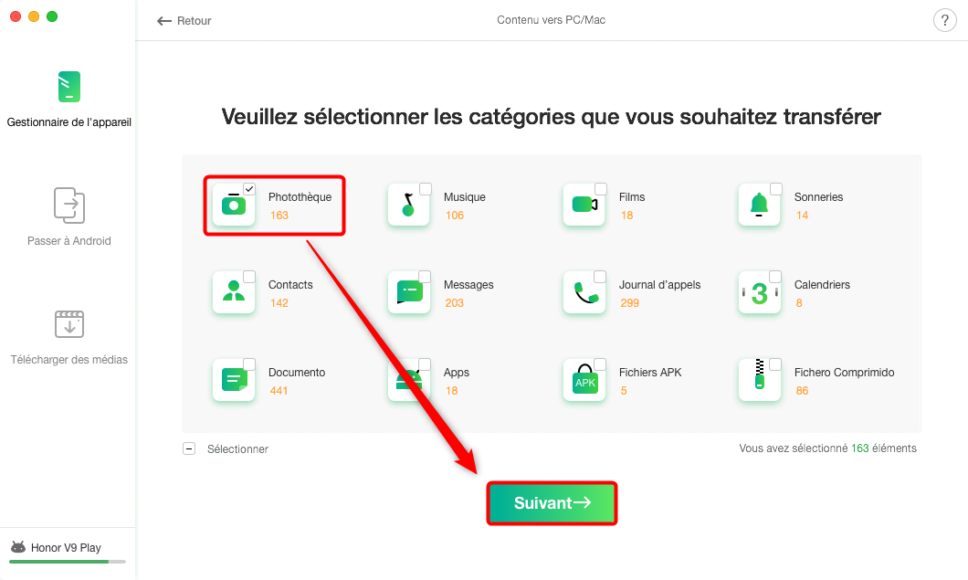 Réparer Android File Transfer impossible de copier le fichier Mac - Étape 2