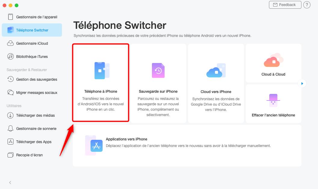 Choisissez Téléphone à iPhone