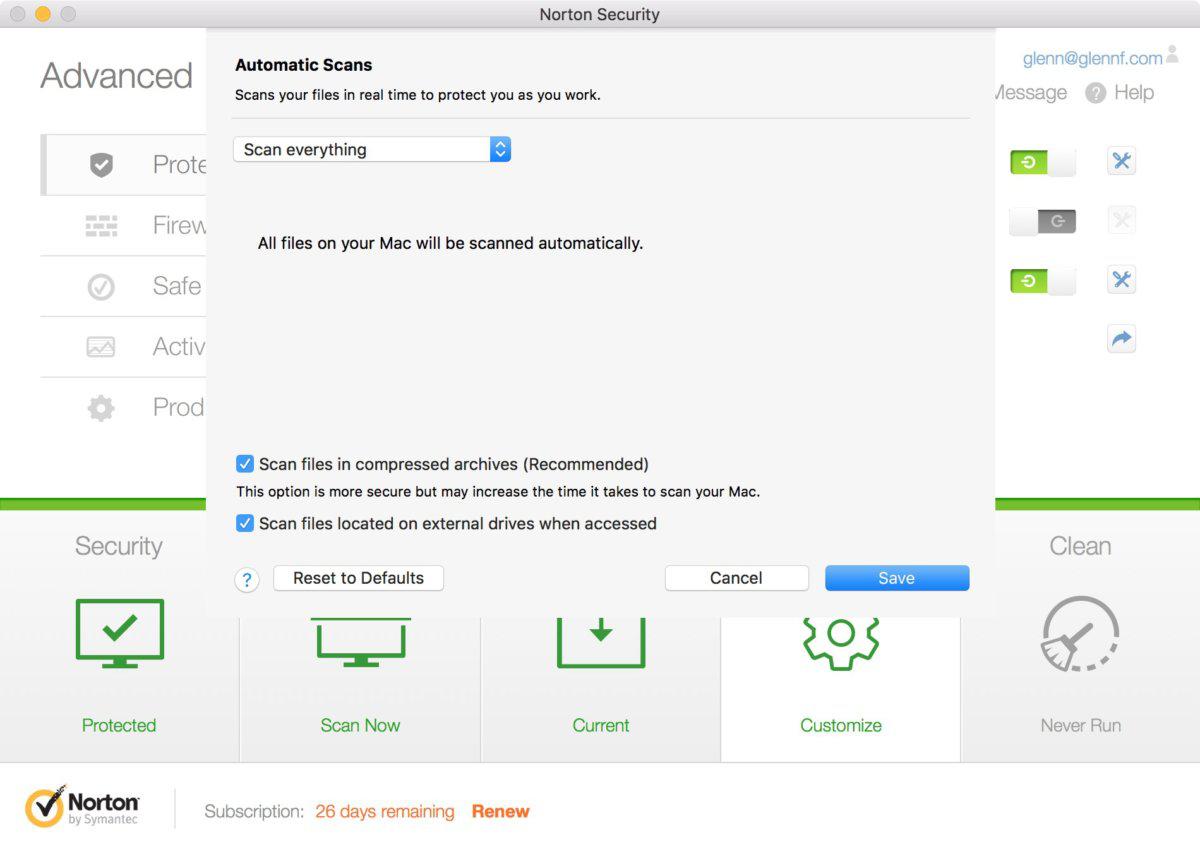 Analyse du Mac avec Norton