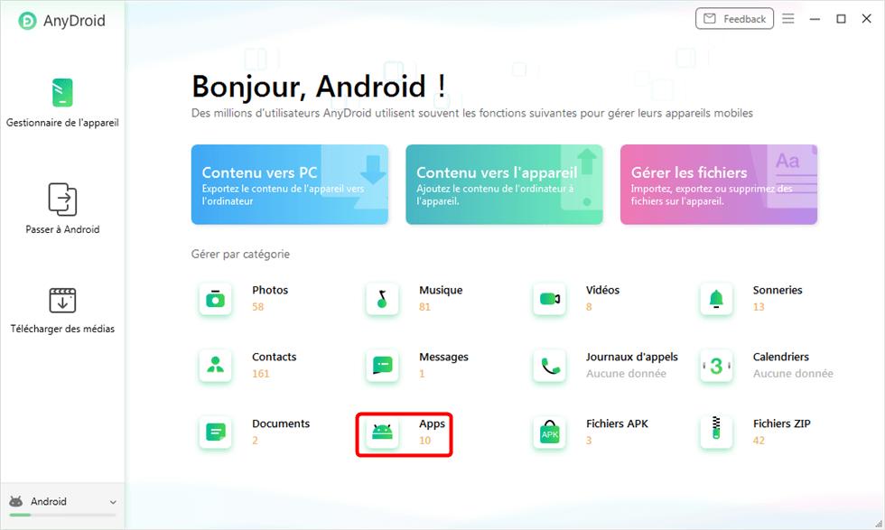Accès aux applications du mobile Android