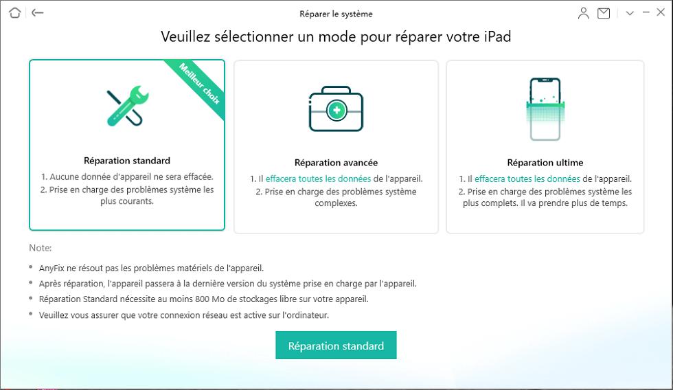 3 modes de réparation sur iPad