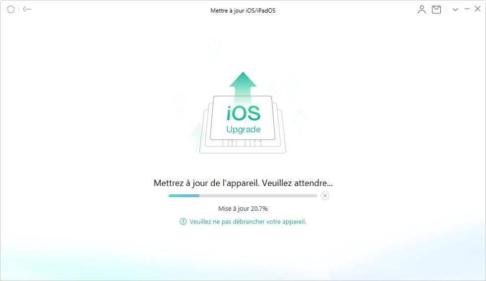 Mise à jour d'iOS en cours