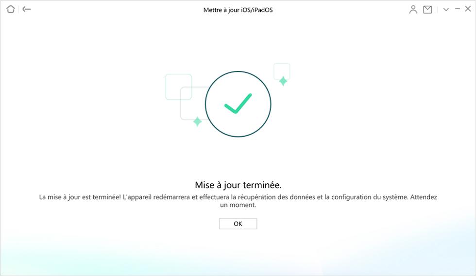Mise à jour iOS terminé
