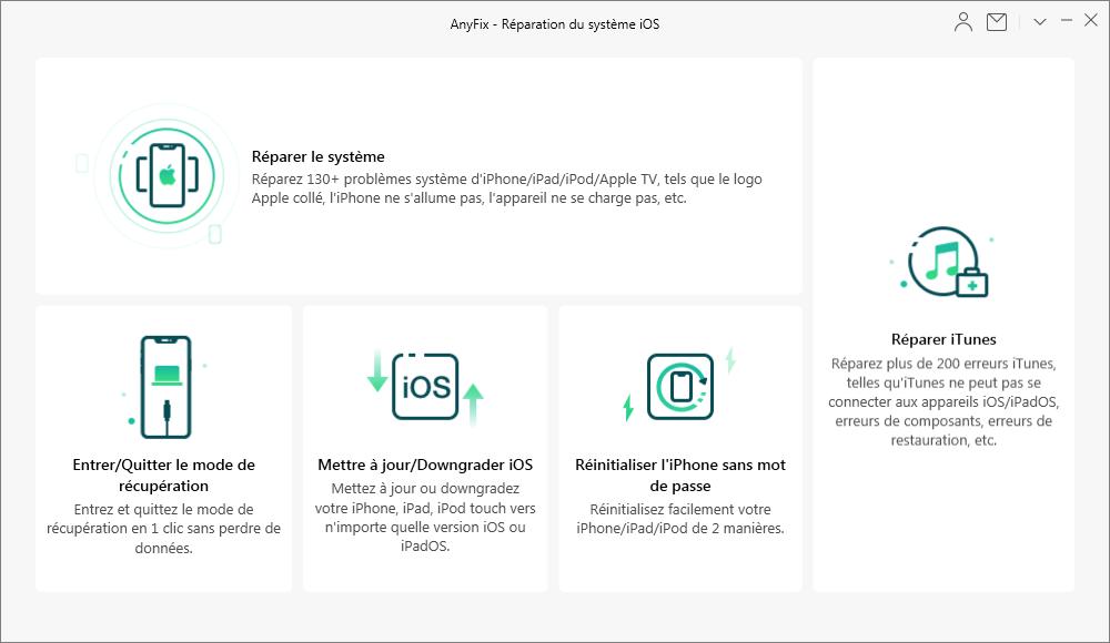 Résoudre les problèmes d'iPhone avec AnyFix
