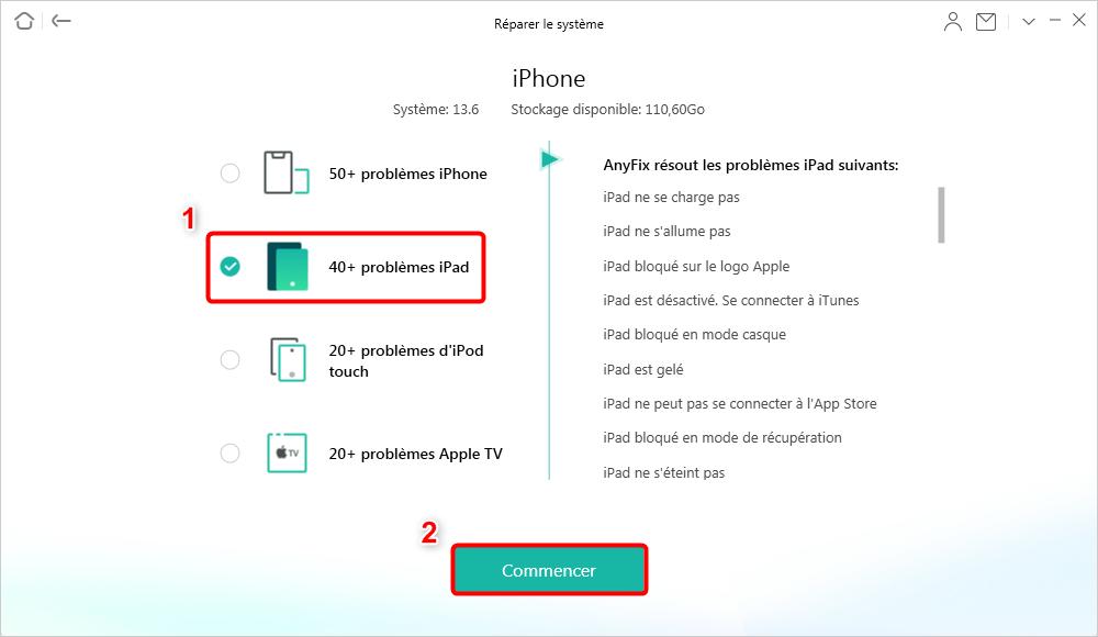 40+ problèmes iPad
