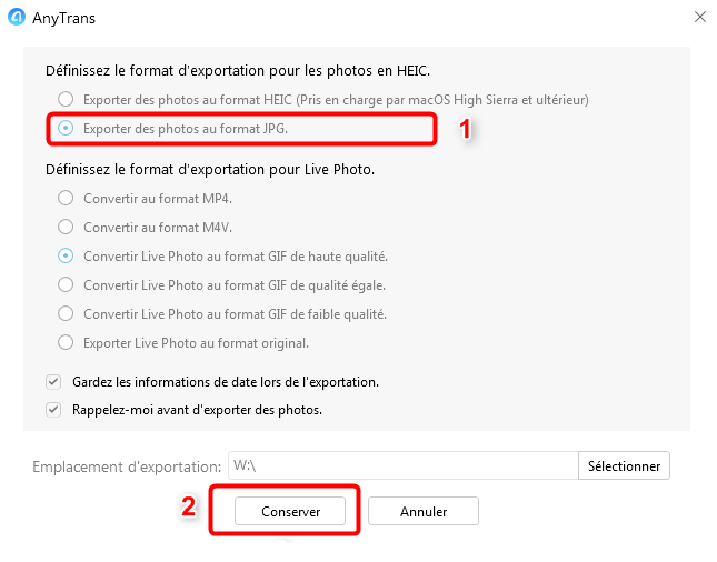 Choix de l'extension des photos