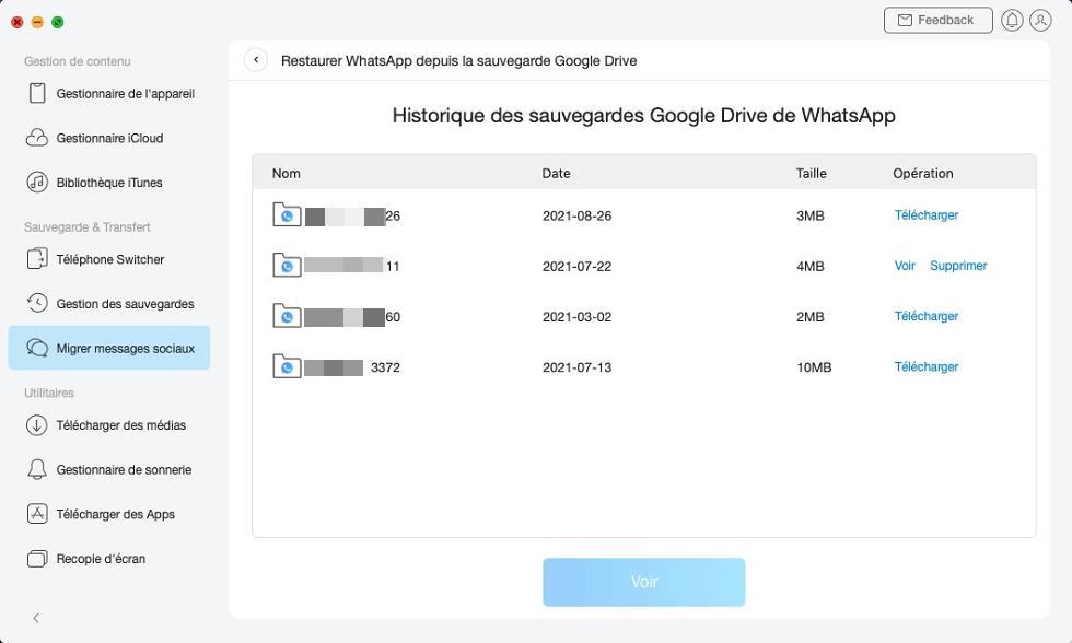 Historique des sauvegardes Google Drive de WhatsApp