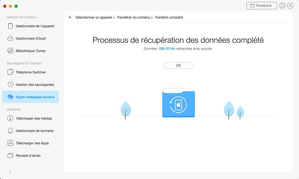 Processus de récupération des données complété