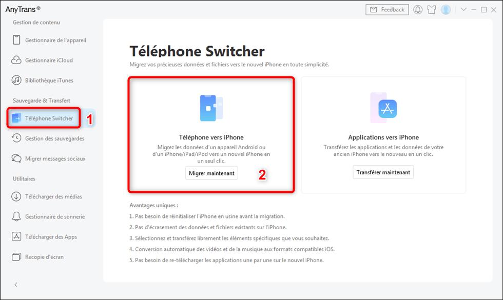 Transférer les données téléphone vers iPhone
