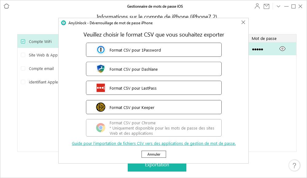 Choisir le format CSV