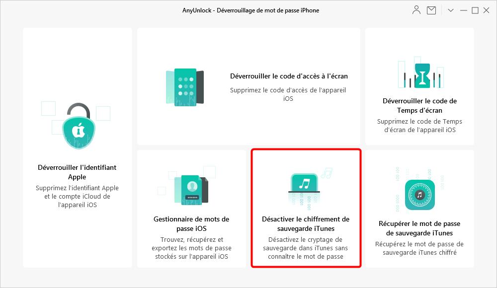 Désactiver le chiffrement de sauvegarde iTunes