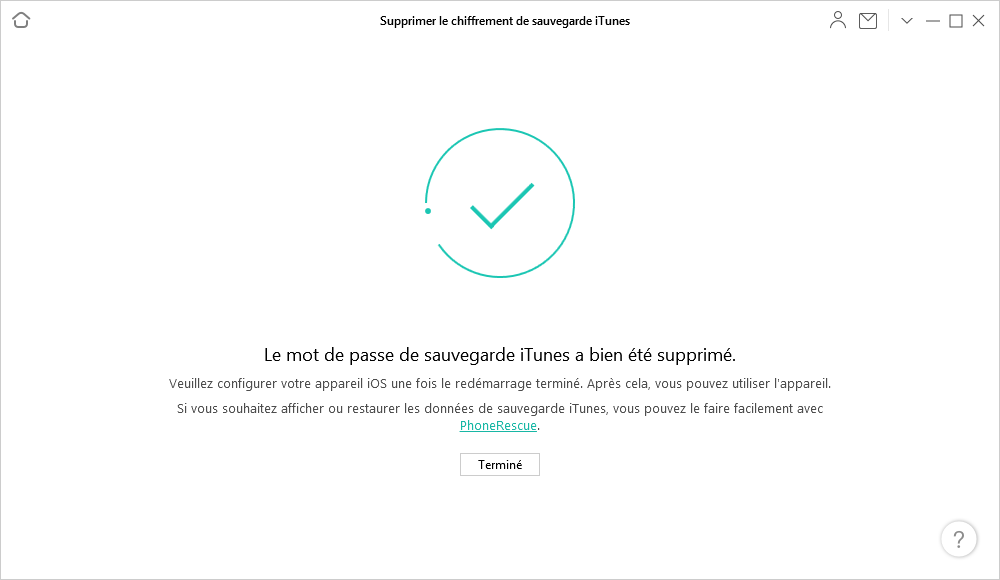 Mot de passe de sauvegarde iTunes supprimé