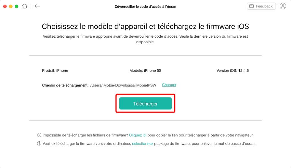 Le firmware correspodant avec votre iPhone