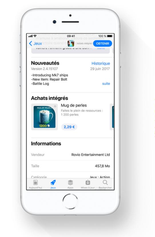 Vous pouvez faire des achats intégrés dans l'App Store