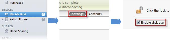 Activer l'utilisation comme disque dur1