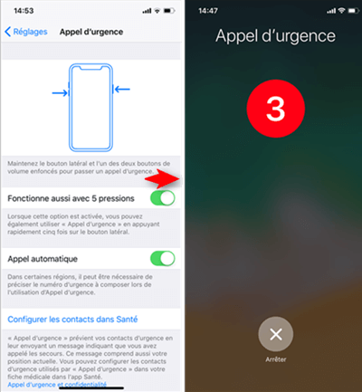 Utiliser l'appel d'urgence sur iPhone X