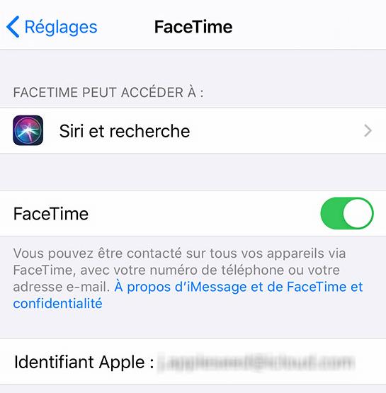 Identifiant Apple sur FaceTime