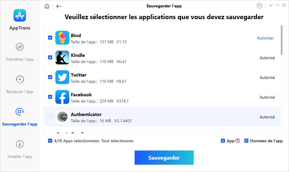 Sauvegarder des applications