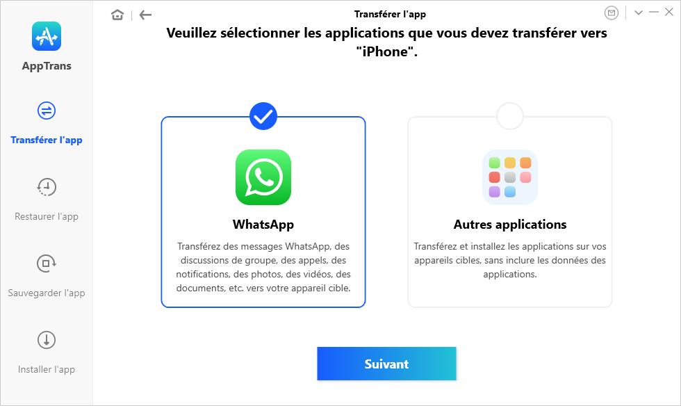 Cliquez sur WhatsApp
