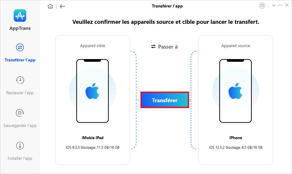 Transférer l'app iPad vers iPhone