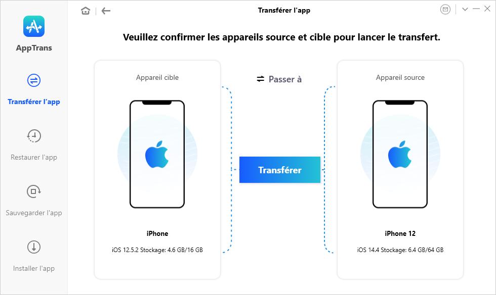 Transférer l'app iPhone vers iPhone