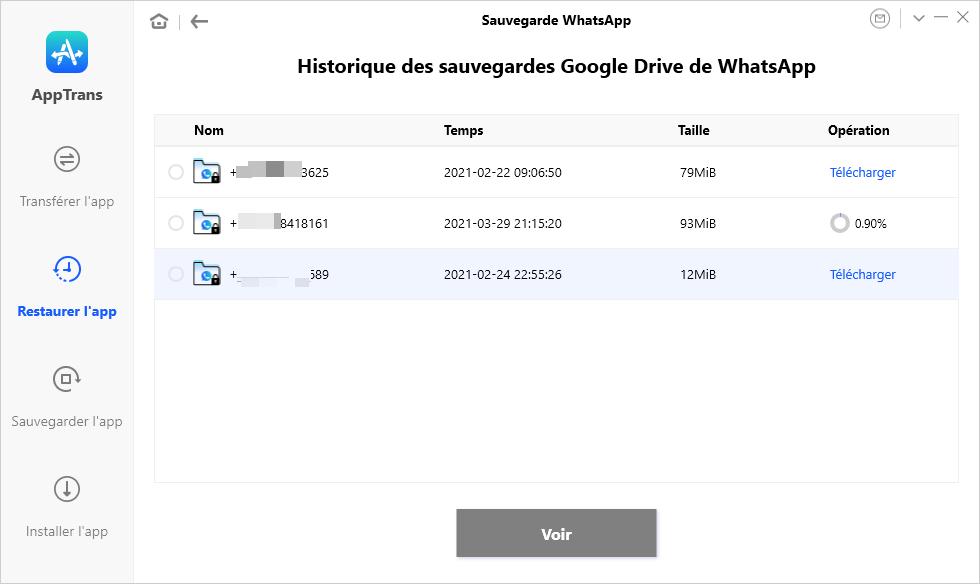Sauvegarde Google Drive de WhatsApp