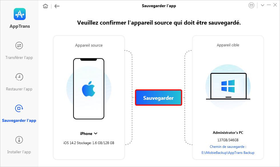 Sauvegarder l'app sur iPhone