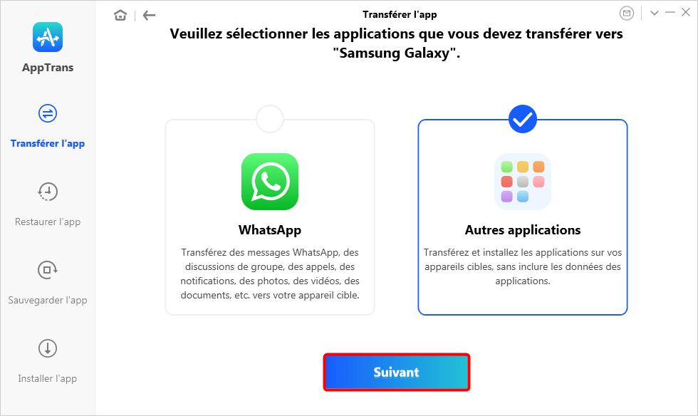 Cliquez sur Autres applications