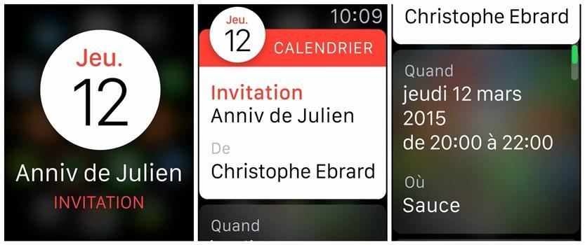 Astuces pour Apple Watch - Vérifier calendrier