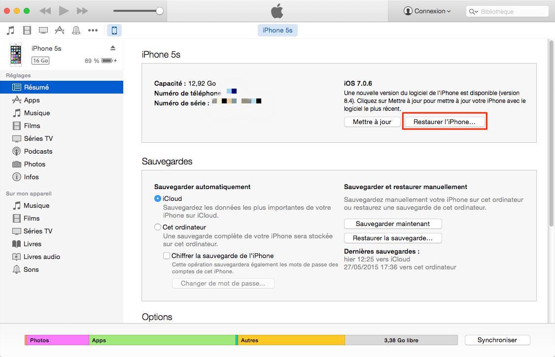 Effacer des donneés sur l'appareil iOS via iTunes