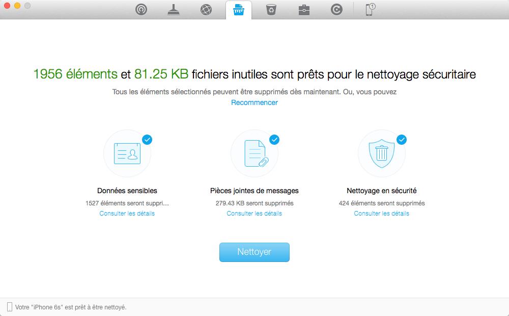 Accélérer sauvegarde iCloud - Nettoyage votre iDevice avec PhoneClean