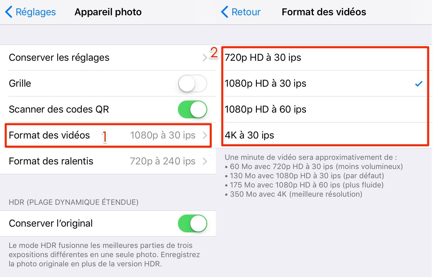 Changer la qualité de photos et vidéos